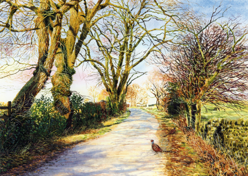 February Sun  - Lancashire. Painting : Keith Melling