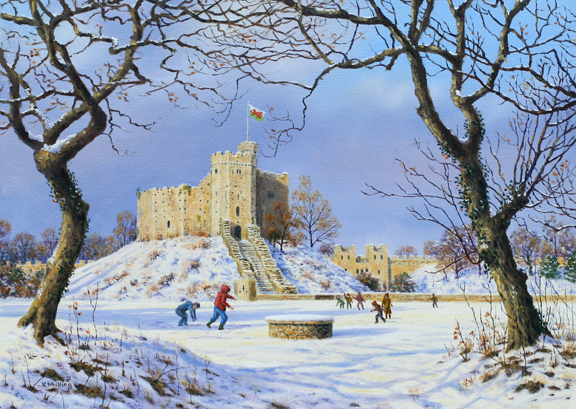 Cardiff Castle - Wales. Painting by Keith Melling