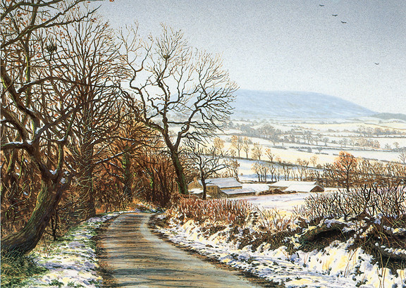 November Snow - Pendle Hill, Lancashire. Painting by Keith Melling