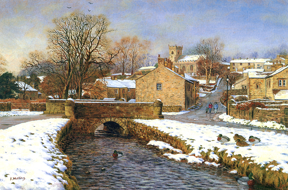 Downham in December, Lancashire. Painting by Keith Melling
