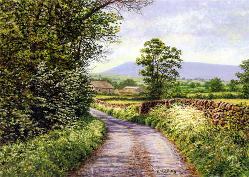 Towards Pendle Hill, Lancashire. Painting : Keith Melling