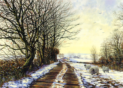 Winter Trees, Lancashire. Painting by Keith Melling