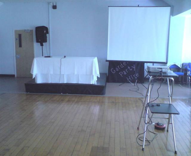 Public Inquiry Dias projector and screen with radio mics