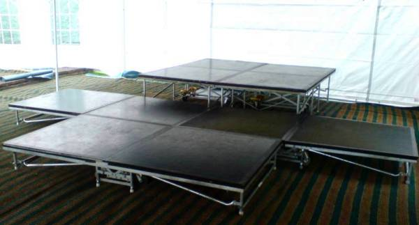 stage with drum riser for seven piece band