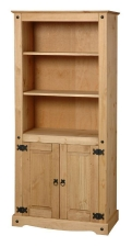 Corona Mexican pine tall two door bookcase