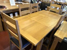 Erne oak large 6ft extending dining table & 6 chairs
