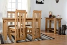 Block solid pine dining table & 4 chairs with padded seats