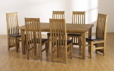 Block solid pine dining large table & 6 chairs with padded seats