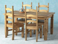 Corona Mexican Pine dining set with 4 chairs