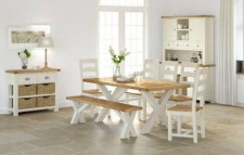 New England X leg dining table & 6 chairs