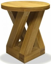 Z solid oak round lamp table