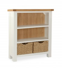 New England cream and oak low bookcase