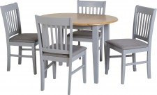 Oxford grey extending oval dining table with 4 chairs