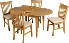 Oxford oak extending oval dining table with 4 chairs
