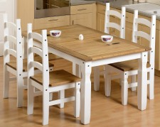 Corona Mexican white or Grey 5ft dining table with 4 chairs