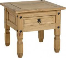 Corona Mexican Pine 1 drawer lamp table
