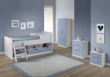 White low sleeper bed with pink or blue drawers