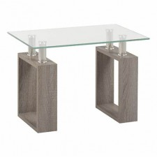 Light charcoal & glass lamp table