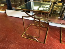 Square gold mirrored small side table