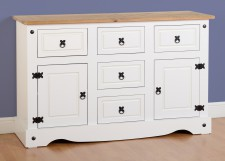 Corona white Mexican pine 2 door 5 drawer sideboard