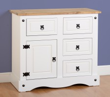 Corona white Mexican pine 1 door 4 drawer sideboard