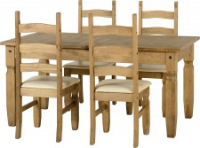 Corona Mexican Pine dining set with 4 chairs padded seats