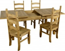 Corona Mexican pine extending dining set with 4 chairs