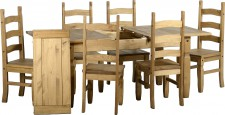 Corona Mexican pine extending dining set with 6 chairs