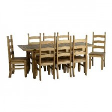 Corona Mexican pine extending dining set with 8 chairs