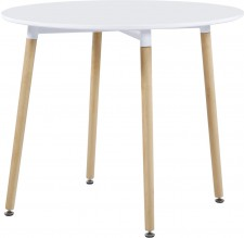 Lindon round white dining table