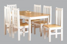 Ludlow white and wood large solid dining set