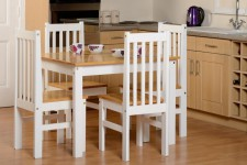 Ludlow white and wood small solid dining set