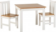 Ludlow white or grey and wood small 2 seat dining set