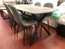 Grey stone concrete effect dining set with 4 chairs