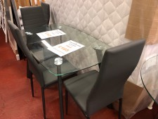 Abbi glass dining set with chairs in grey black or white