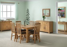 Tuscan oak small extending dining set with 6 chairs