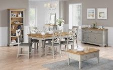 Chester grey and oak small extending dining set 6 chairs