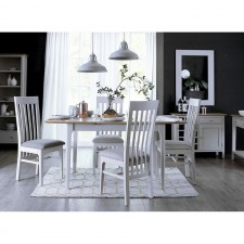 Scandinavian oak and grey 4ft extending dining table with 4 chairs