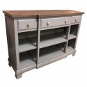 Ashton walnut and grey 3 drawer low bookcase