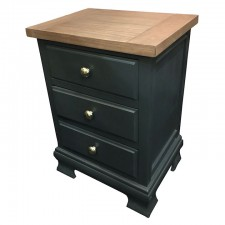 Ashton walnut and black 3 drawer lamp table