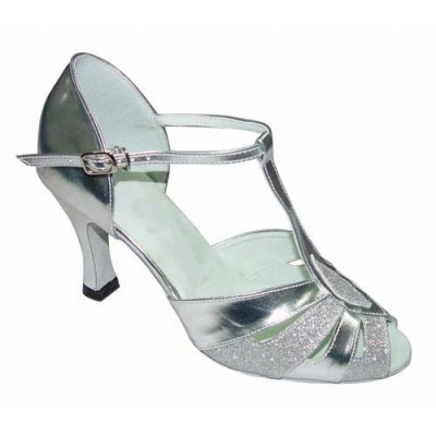 a12001e8cde 2702-11 T Bar Two Tone Silver Ballroom Shoes | Latin & Salsa Shoes ...