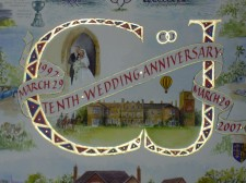 Detail from wedding Anniversary panel. Water colours and gold leaf