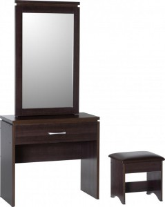 Charles 1 drawer dressing table set in walnut dining for Dressing a dining room table