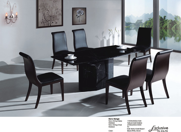 Reno black marble dining table with 6 chairs glass Black marble dining table set
