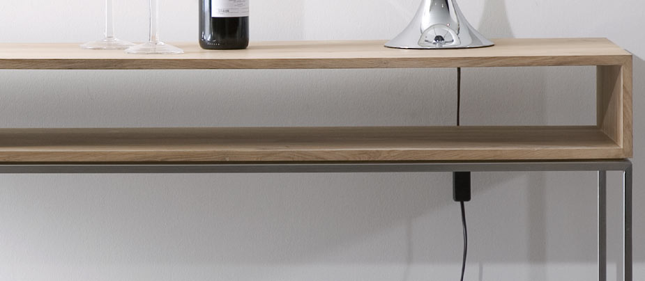 Ethnicraft thin oak console table ethnicraft furniture for Thin dressing table