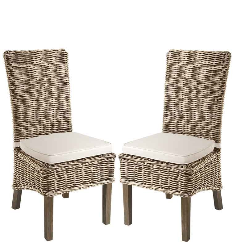 Rustic painted dining chairs - Rowico Lulworth Grey Wash Rattan Dining Chair Living