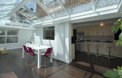 Lantern roof extension with kitchen