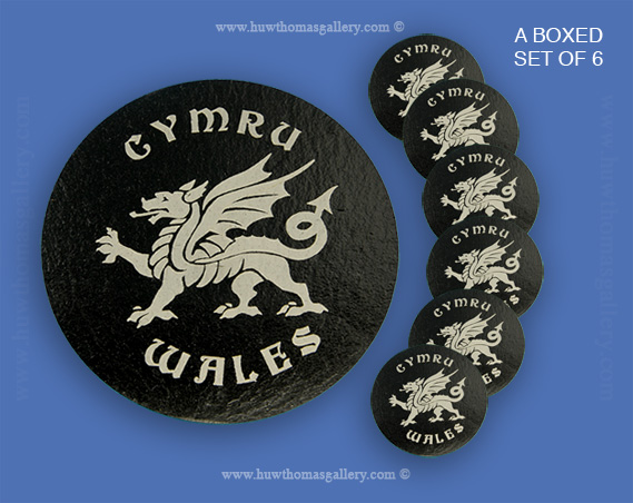 Welsh Dragon Coaster - Welsh Slate