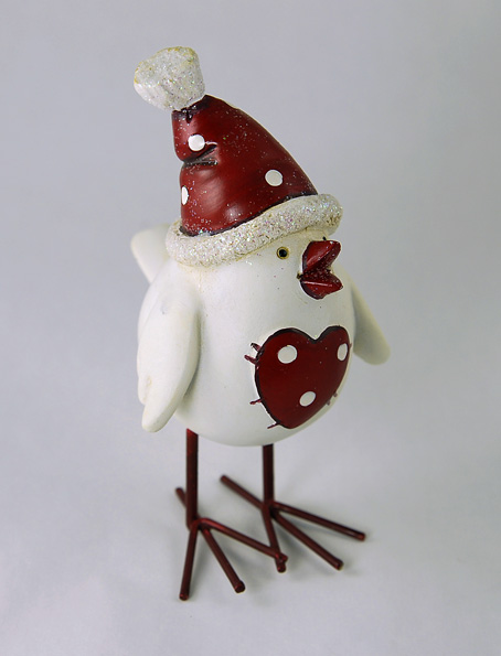 Christmas Funny Bird with Polka dot Heart