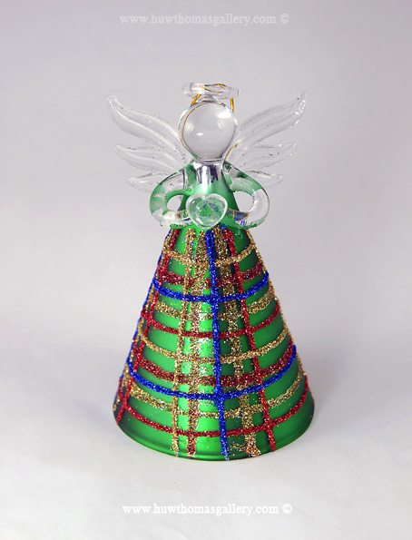 Glass Christmas Angel Green - Striped with Coloured Glitter